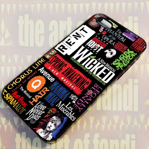 Broadway Musical Collage For iPhone 4 or 4s Black Rubber Case