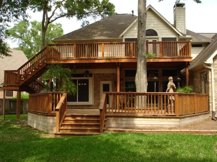 Best 25 two story deck ideas on pinterest raised deck for Second story deck cost