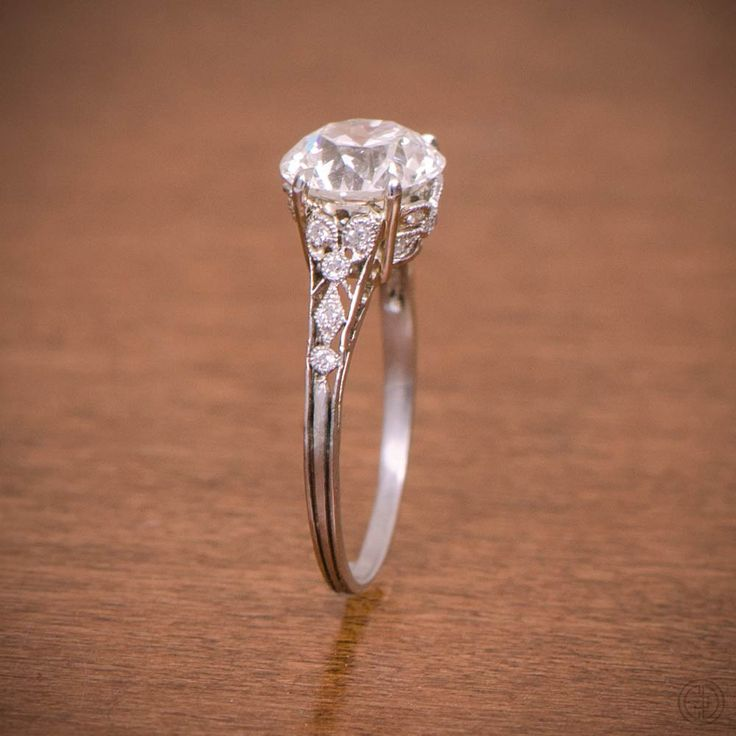 A rare Antique Edwardian Engagement Ring by Estate Diamond Jewelry. Circa 1910.