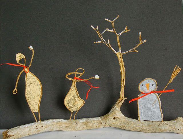 Bonhomme de neige en d coupe de papier coll e sous du kraft arm cr ation epistyle fil de - Pinterest bonhomme de neige ...