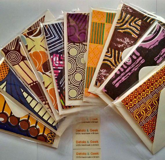 African print wedding cards set of 10 blank handmade cards