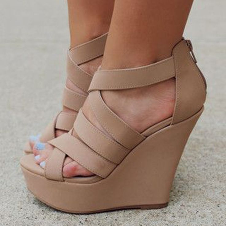 Shoespie Nude Strappy Wedge Sandals