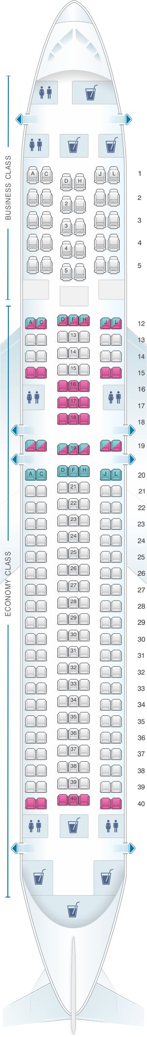 Seat map for LAN Airlines Boeing B767 300