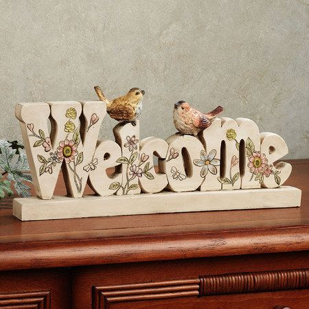 Fancy Feathers Indoor Outdoor Aviary Welcome Sign Table Accent
