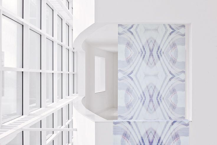 """Dies ist ein Muster aus unserer Themenwelt """"northern lights"""". Leicht, luftig, reduziert. #architecture #architektur #drapilux #stoff #design #200° #collection #print #baukasten #weiss"""