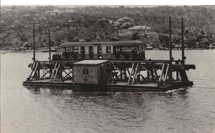 Tram Punt, The Spit. A very odd sight yet this is how trams crossed the Spit well into the 1930s. NSW Railways.
