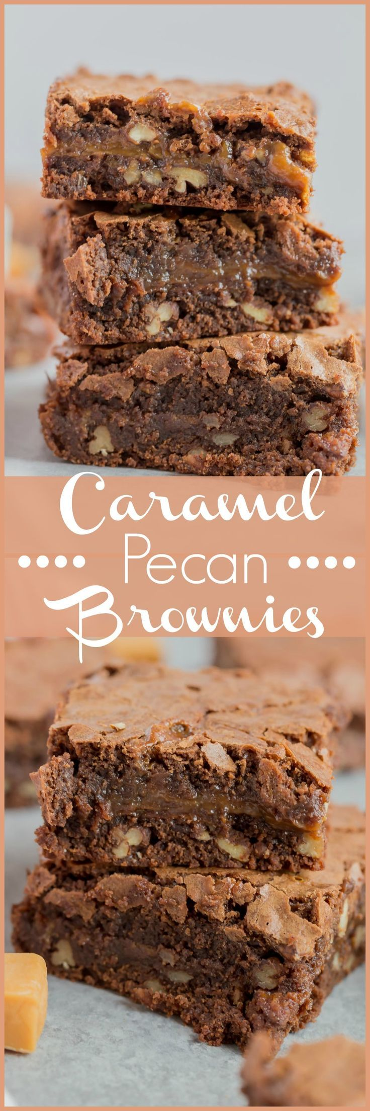 If you love brownies then you're gonna love these Caramel Pecan Brownies. They're soft, chewy, chocolate-y with caramel and pecans. Add a dollop of vanilla ice cream and you're in brownie heaven.
