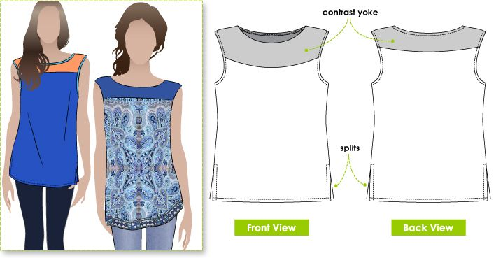 Sleeveless tunic with yoke and side splits.  would look gorgeous with a lace yoke or embroidered