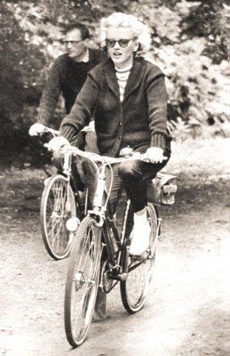 the great Marilyn Monroe going for a bike ride