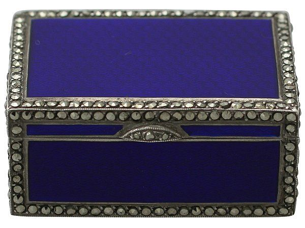 A gorgeous little Sterling Silver, Enamel and Marcasite Miniature Music Box - Antique Circa 1900