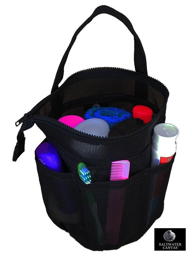 Mesh Shower Bag Small Black Zip Top Imported Bags Small Bags Shower