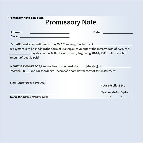 Printable Sample Promissory Note Sample Form