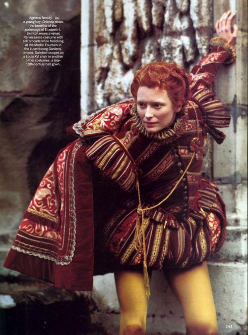 Tilda Swinton as Orlando (one of the best movies EVER)...  costume designer Sandy Powell & Dien van Straalen