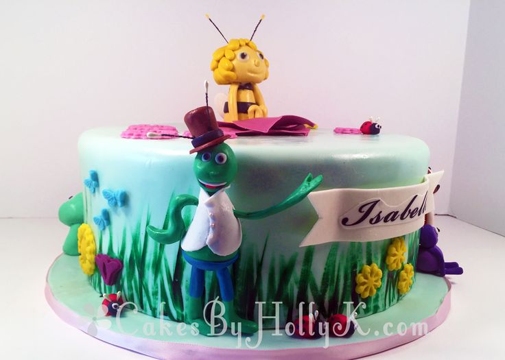 Maya The Bee Cake with Flip the Grasshopper, Willy and Lara the Ladybug gumpaste figurines - Cakes By HollyK