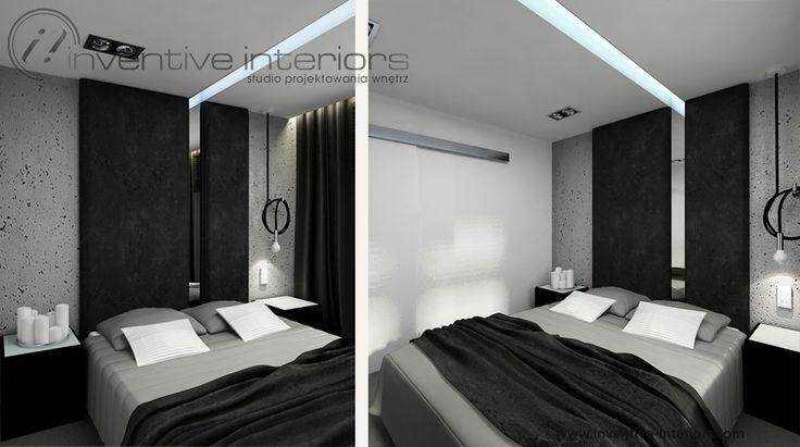 Projekt sypialni Inventive Interiors - biel szarość i czerń w męskiej sypialni w stylu industrialnym - beton i tapicerowanie na ścianie