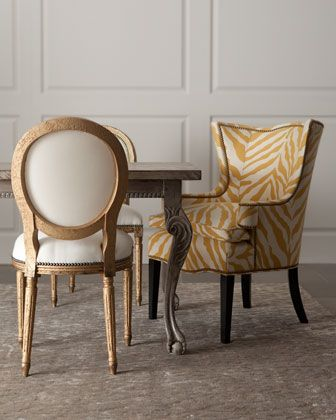 """""""Serena"""" & """"Sunflower Zebra"""" Chairs by Old Hickory Tannery at Neiman Marcus."""
