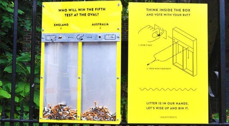 環境問題に取り組むイギリスのNPO団体「Hubbub」が制作したタバコの看板。タバコのポイ捨てが劇的に減った。「捨てられるものに価値を見い出す。」