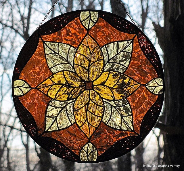 Stained Glass Golden Amber Leaves Round Suncatcher