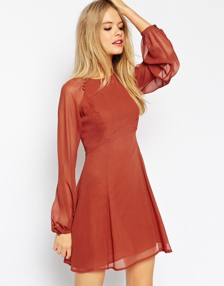 Image 1 ofASOS Baby Doll Dress with Blouson Sleeves and Button Details