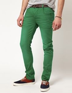 Green skinny jeans guys