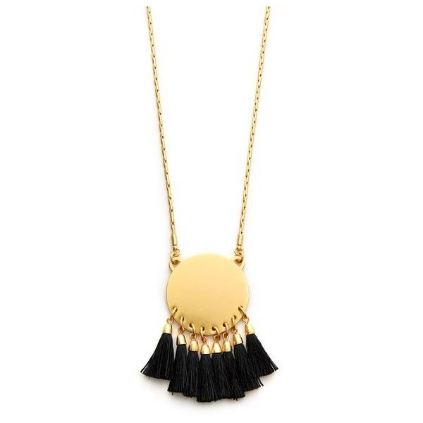 Madewell Moonshine Necklace ($53) ❤ liked on Polyvore featuring jewelry, necklaces, true black, circle pendant necklace, madewell, tassle necklace, brass necklace and brass jewelry