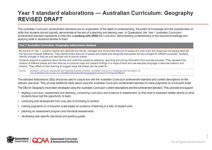 Year 1 Geography - standard elaborations
