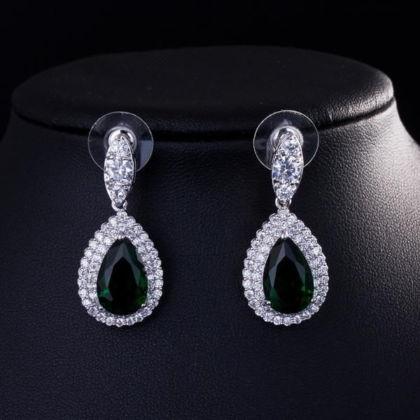 Large Drop Rhodium Plated Cubic Zirconia Earrings - 4 Colors