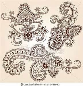 EPS Vector Of Henna Doodles Mehndi Tattoo Designs  Hand Drawn