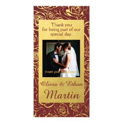 Golden Roses and Burgundy Wedding Photo Card - monogram gifts unique design style monogrammed diy cyo customize