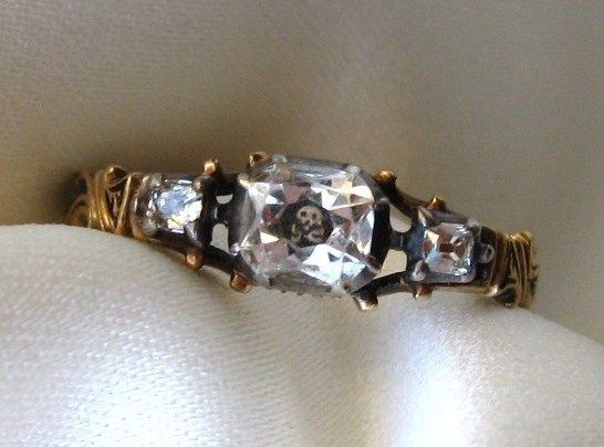 Extremely Rare Georgian Stuart Crystal Ring with Skull, 1755 from jeanpapinantiquejewelry on Ruby Lane