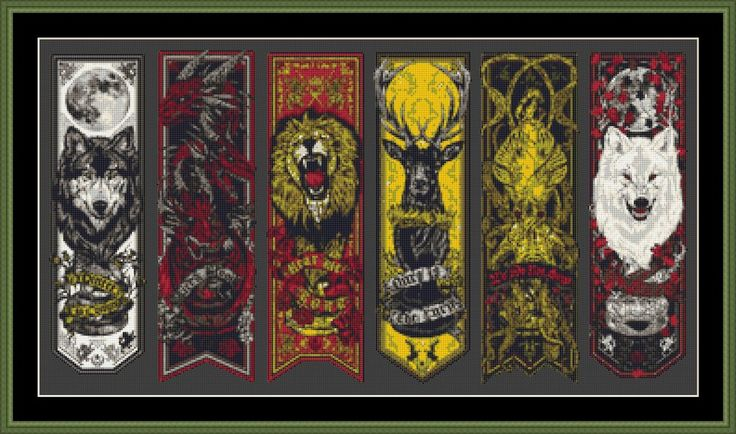 "'Game Of Thrones House Banners' Counted Cross Stitch Kit by Cross Stitch Kingdom   Stitched design is 24.57"" x 12.86"" (62.41cm x 32.66cm) and uses 40 different"