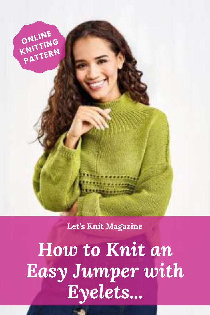 Easy Jumper With Eyelets in 2020   Knitting patterns ...