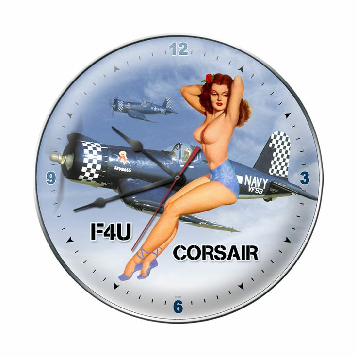 This F-4U Corsair Nude clock measures 14 inches by 14 inches and weighs in at 3 lb(s). We hand make all of our clocks in the USA using heavy gauge american steel and a process known as sublimation, where the image is baked into a powder coating for a durable and long lasting finish. This clock includes an american made quartz clock movement (requires one AA battery) for years of accurate time keeping and is covered with a clear acrylic lens.