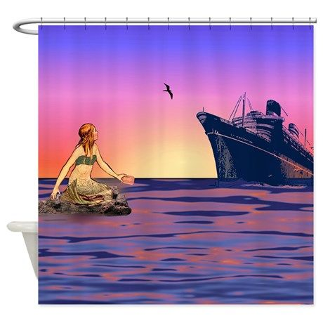 Mermaid at Sunset Shower Curtain on CafePress.com