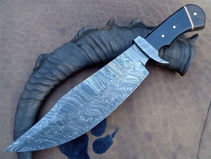 "14"" Damascus Steel, Real Buffalo Horn Handle Classic Bowie Knife 