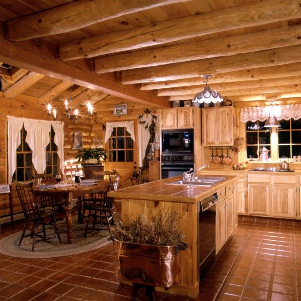 Best 25 log cabin kitchens ideas on pinterest cabin kitchens rustic cabin kitchens and - Home plans with large kitchens ...