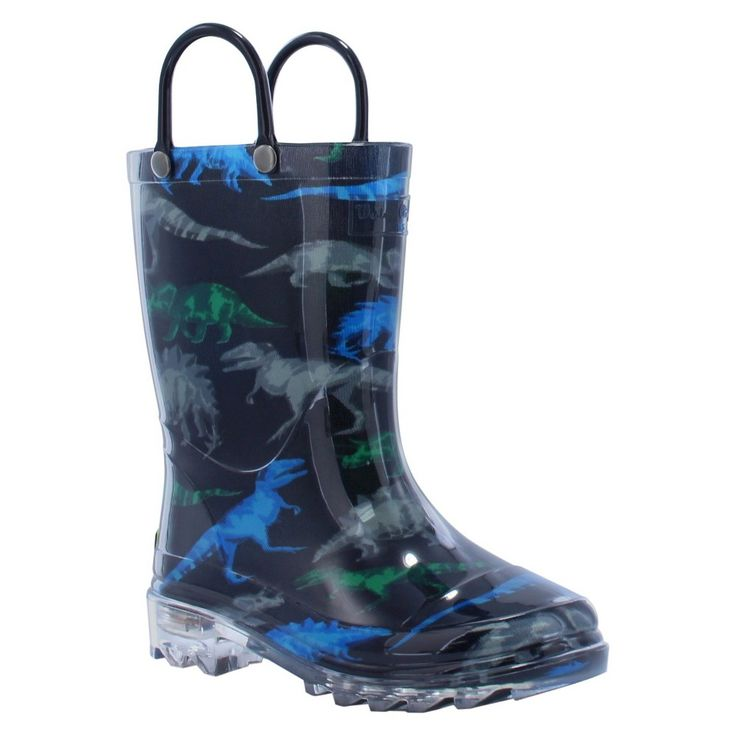Western Chief Toddler Boys' Dinosaur Friends Lighted Rain Boots - Black 9, Toddler Boy's