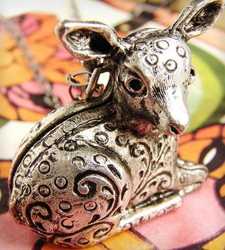 Silver Bambi Engraved Locket Necklace by Sora Designs on Scoutmob Shoppe