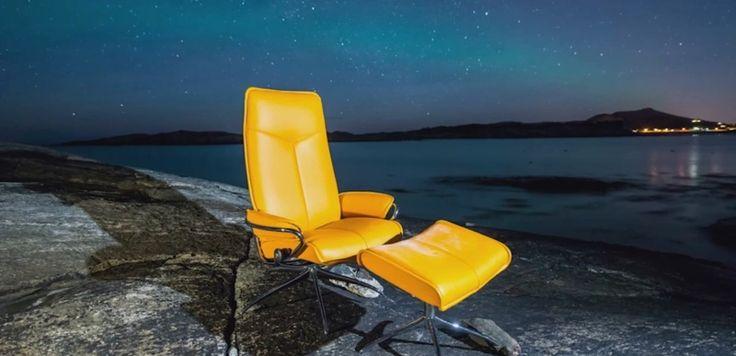 """Stressless Sessel """"City"""" in Gelb und aus Metall von Ekornes"""