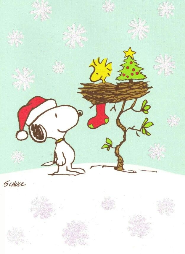 Christmas-snoopy visiting Woodstock's nest decorated with tree and stocking