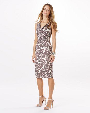 Phase Eight Cath Print Dress Neutral