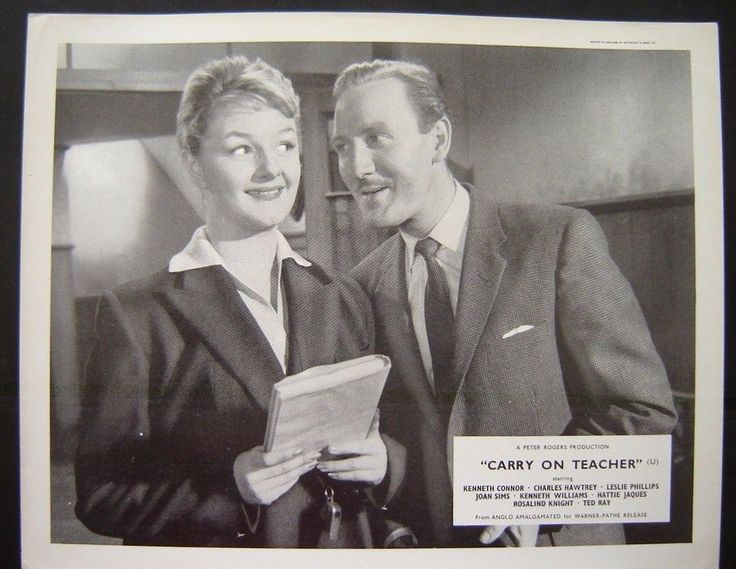 Lobby card for Carry On Teacher. 1959. (Joan Sims and Leslie Phillips.)