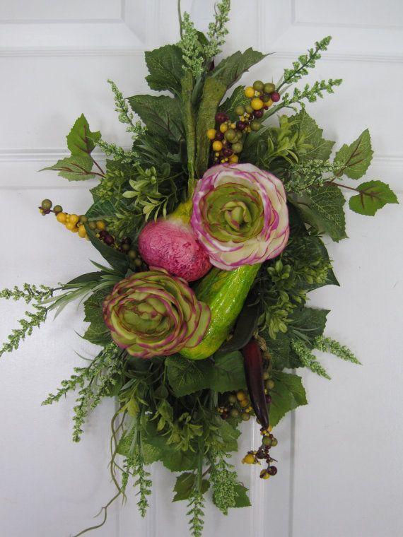 KITCHEN SWAG Wreath Spring Summer KITCHEN Floral by funflorals, $65.00