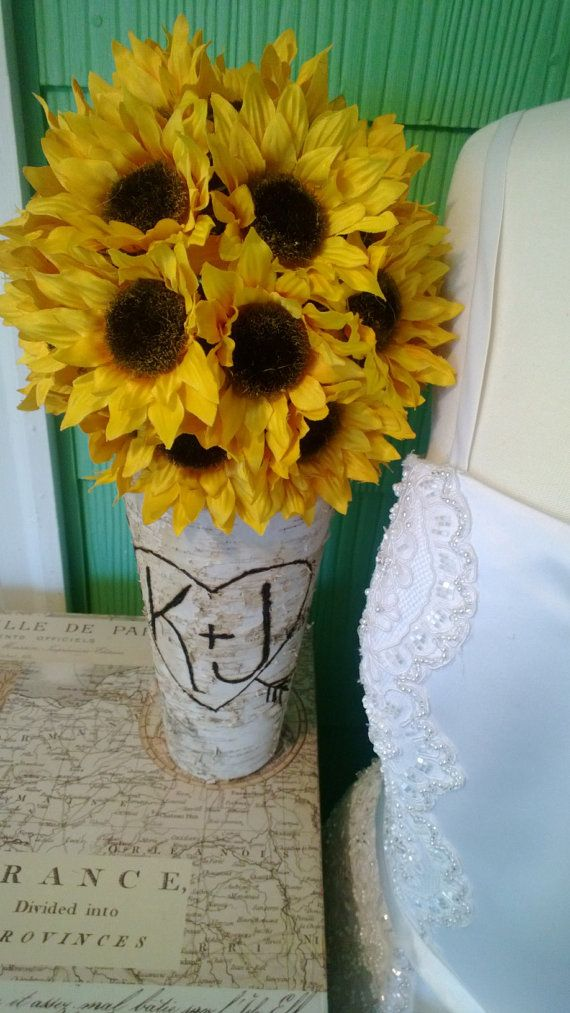 Personalized Birch Vase Sunflower Home Decor By