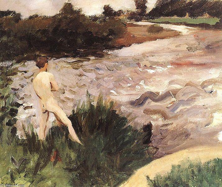 Paysage sombre avec des baigneurs de Karoly Ferenczy (1862-1917, Hungary)