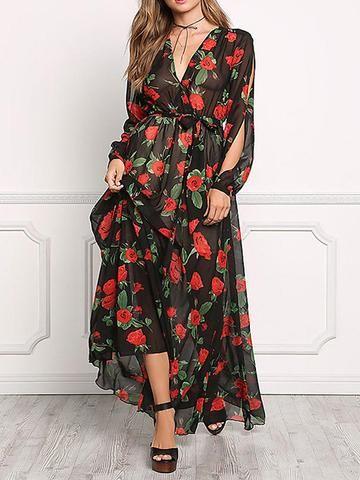 0c5cade462b Floral Print V-neck Long Sleeves Maxi Dress