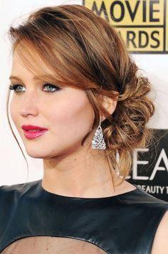 Jennifer Lawrence Low Chignon Updo                                                                                                                                                                                 More