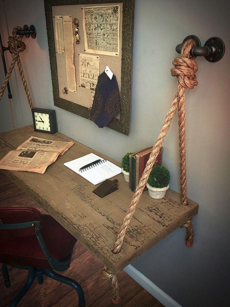Rope & Pipe Desk KOSTENLOSER VERSAND! Verschobenes Holz – an der Wand befestigt – stehender Computer-Laptop-Schreibtisch – sich hin- und herbewegender industrieller hängender Regaltisch – Pia Kreuder