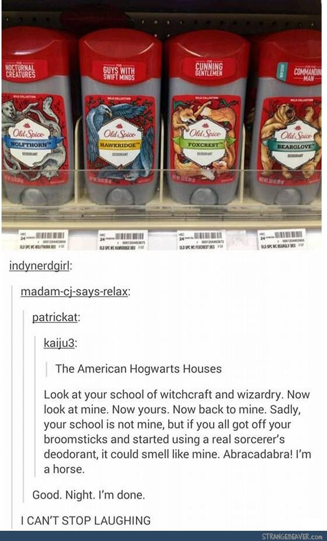Funny tumblr post // This is the best thing I've ever seen!! And truth be told, I like these house animals and names better than the Ilvermorny ones