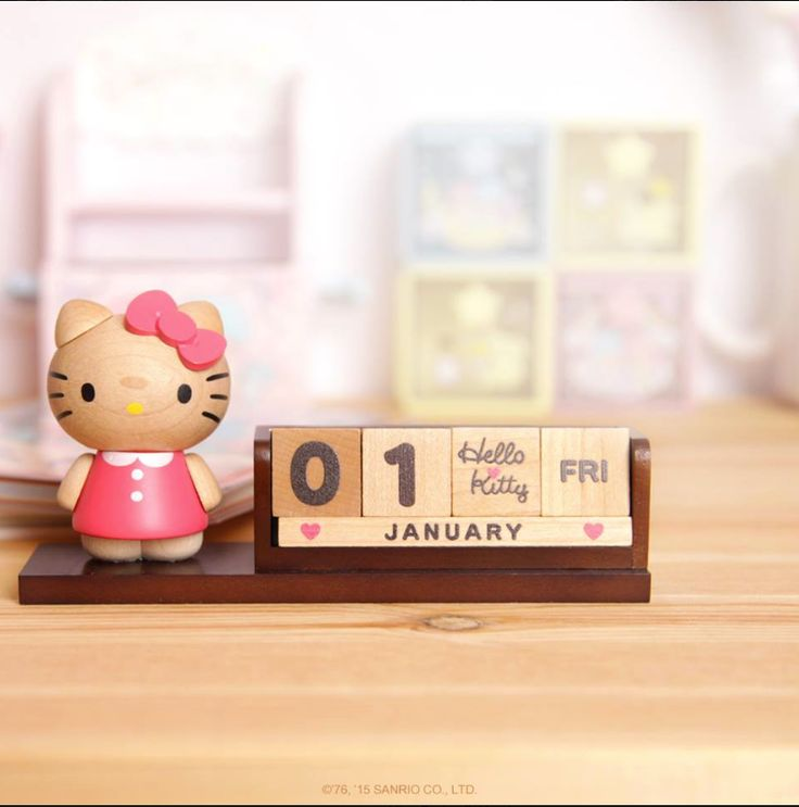 Share Hello Kitty all year long with this beautifully crafted, rich wood toned desk calendar. Movable numbers, days, months and cute icons allow you to update and personalize your calendar forever more.
